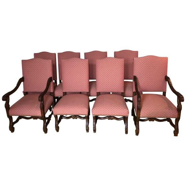 Set of 8 Impressive Carved Wood and Upholstered Chippendale Style Dining Chairs For Sale