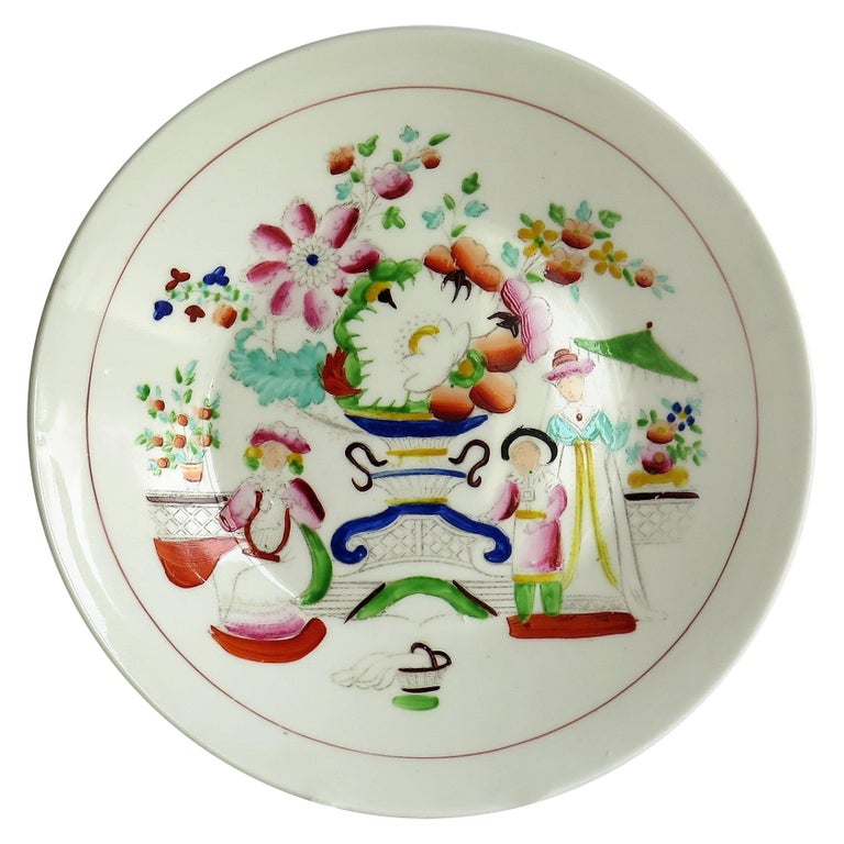 Early 19th Century Plate by Hilditch & Son Staffordshire Oriental Musicians For Sale