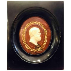 Neoclassical Carved Marble Philosopher Cameo Italian Grand Tour Miniature