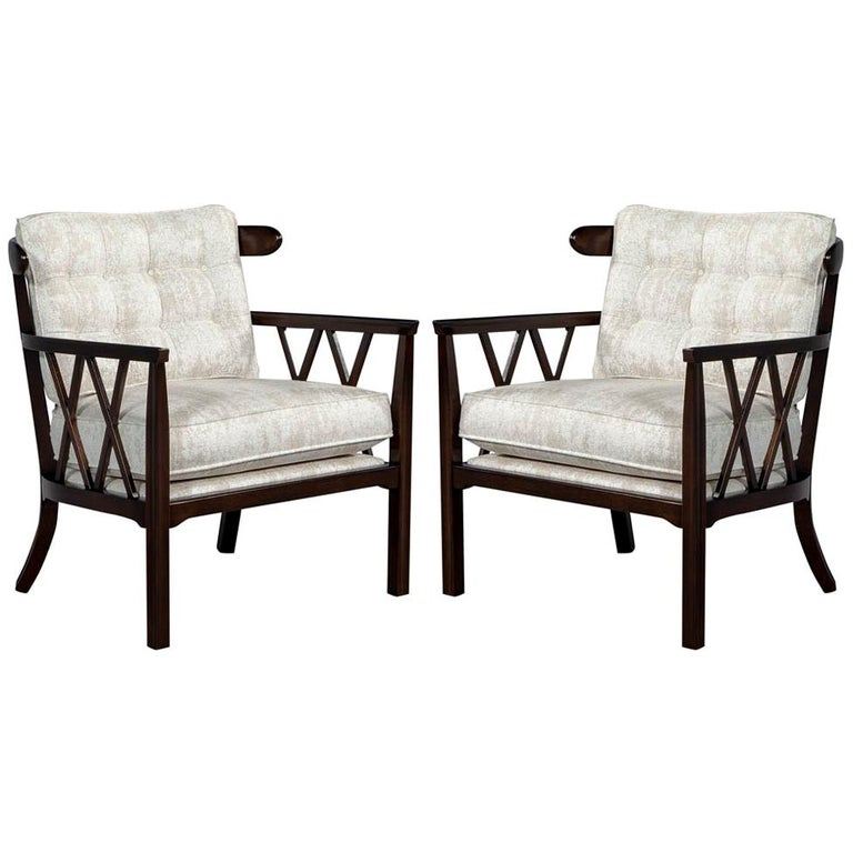 Pair of Mid-Century Modern Walnut X-Back Club Chairs For Sale