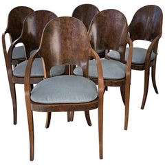 Set of Six Austrian or Italian Walnut Dining Armchairs