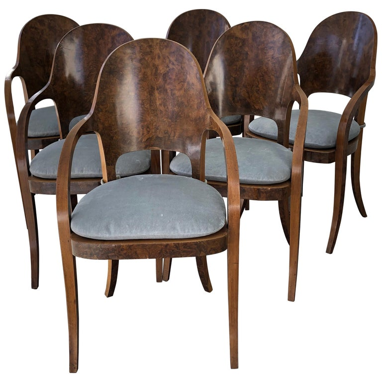 Set of Six Austrian or Italian Walnut Dining Armchairs For Sale