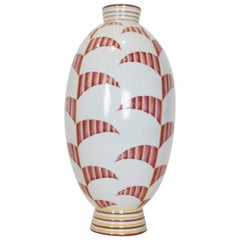 Futurist Italian White and Red Ceramic Hand Painted Vase, circa 1930