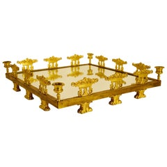 19th Century Square Gilt Bronze Empire Centerpiece