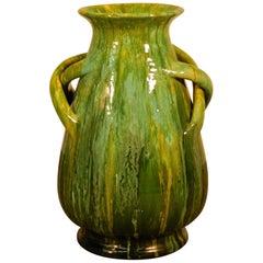 "Bavent, Ceramic Vase Art Nouveau, Signed TN ""tuilerie Normande"" Bavent, 1900"