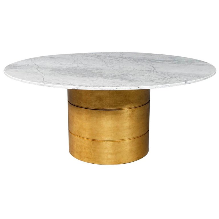 Custom Round Marble Top Dining Table With Gold Leafed Bezel Base For