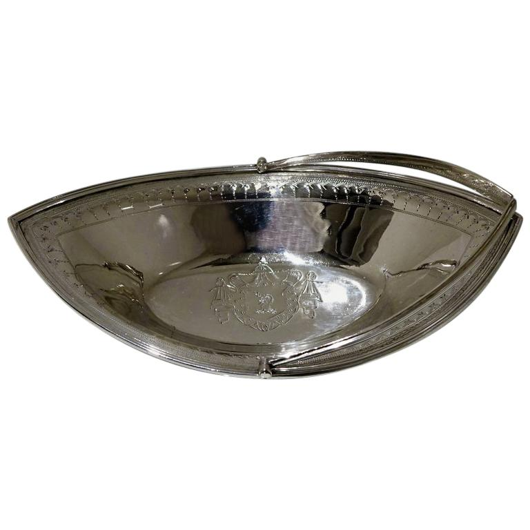 Splendid Late 18th Century Oval Bright Cut Engraved Sweetmeat Basket For Sale