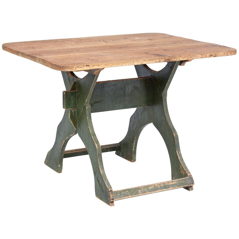 19th Century Painted Pine Swedish Trestle Table 1