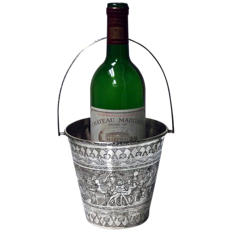 Egyptian Silver Wine Bucket, circa 1920 For Sale