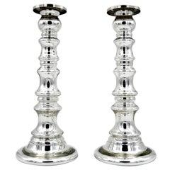 Große Silber Quecksilber Glas Vintage Kerzenhalter Paar