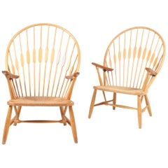 Pair of Pristine Peacock Chairs by Wegner
