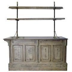 Painted Victorian Store Counter with Zinc Top, England, circa 1880