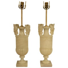 Pair of 1940s Carved Alabaster Lamps with Grape Handles