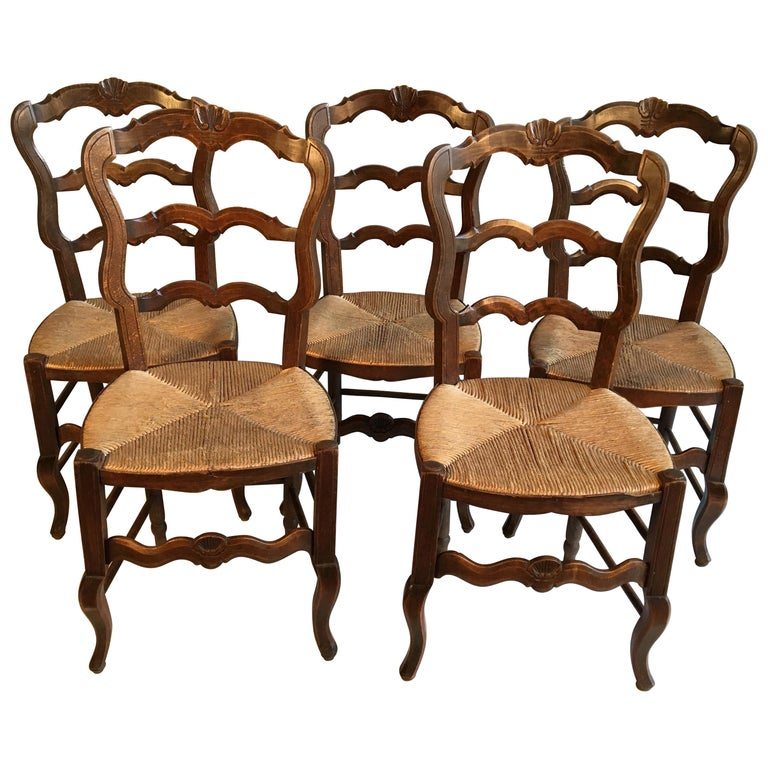Set of 5 French Country Chairs For Sale