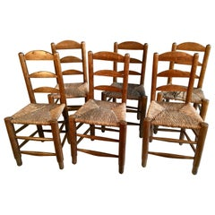 Set of 6 Rustic French Chairs