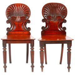 19th Century English Regency Hand Carved Mahogany Hall Chairs