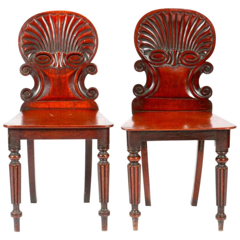 19th Century English Regency Hand Carved Mahogany Hall Chairs For Sale