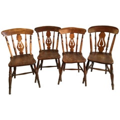Set of 4 English Country Chairs, 19th Century