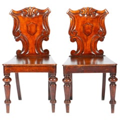 19th Century English Victorian Hand Carved Oak Hall Chairs