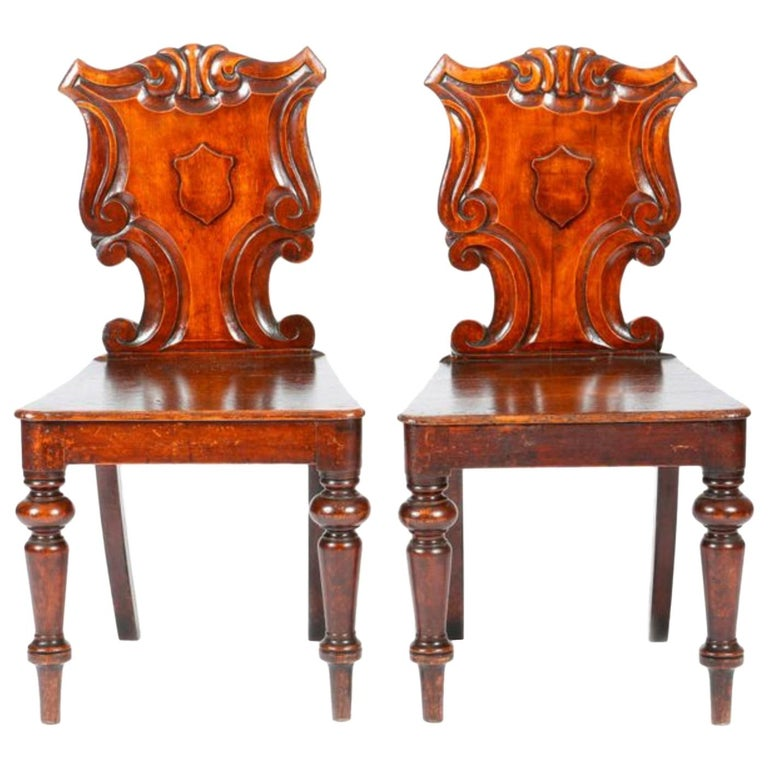19th Century English Victorian Hand Carved Oak Hall Chairs For Sale
