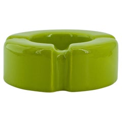 1960s Rich Yellow Raymor Memphis Ceramic Ashtray in Style of Ettore Sottsass