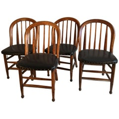 Set of 4 Oak Barrel-Back Chairs, circa 1880