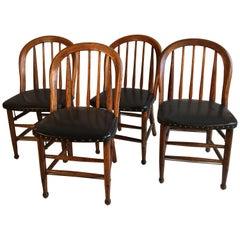 Set of 4 Oak Barrel-Back Chairs, circa 1880