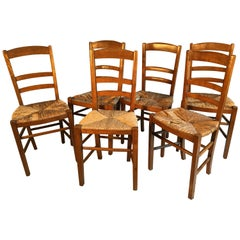 Set of 6 French Country Ladder Back Chairs, Mid-19th Century