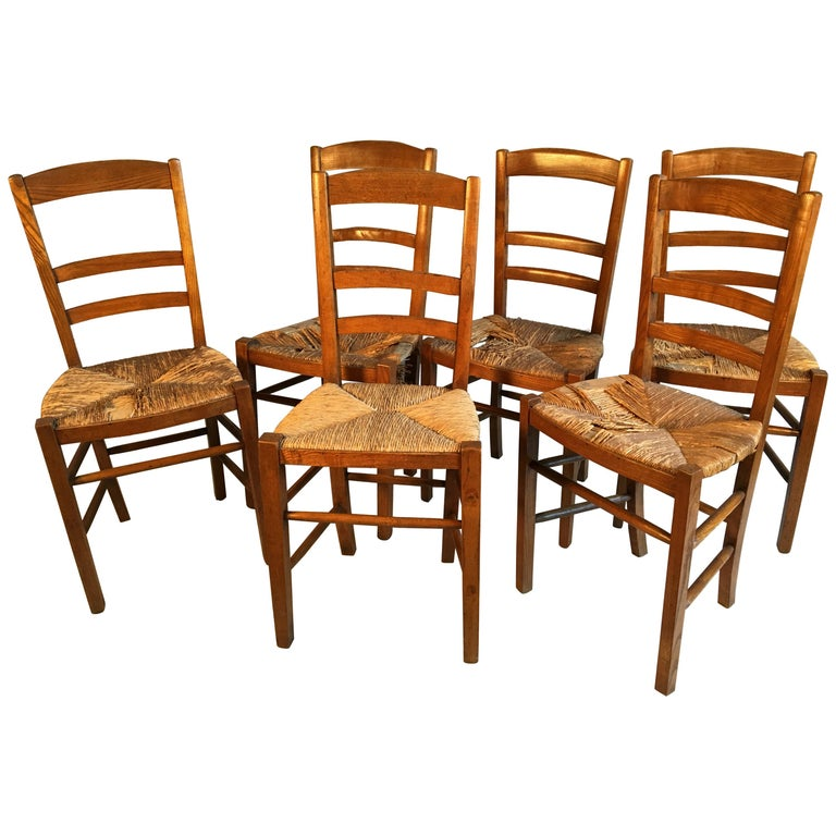 Set of 6 French Country Ladder Back Chairs, Mid-19th Century For Sale