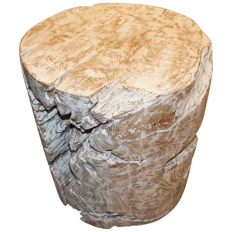 Andrianna Shamaris Organic Cerused Teak Wood Side Table