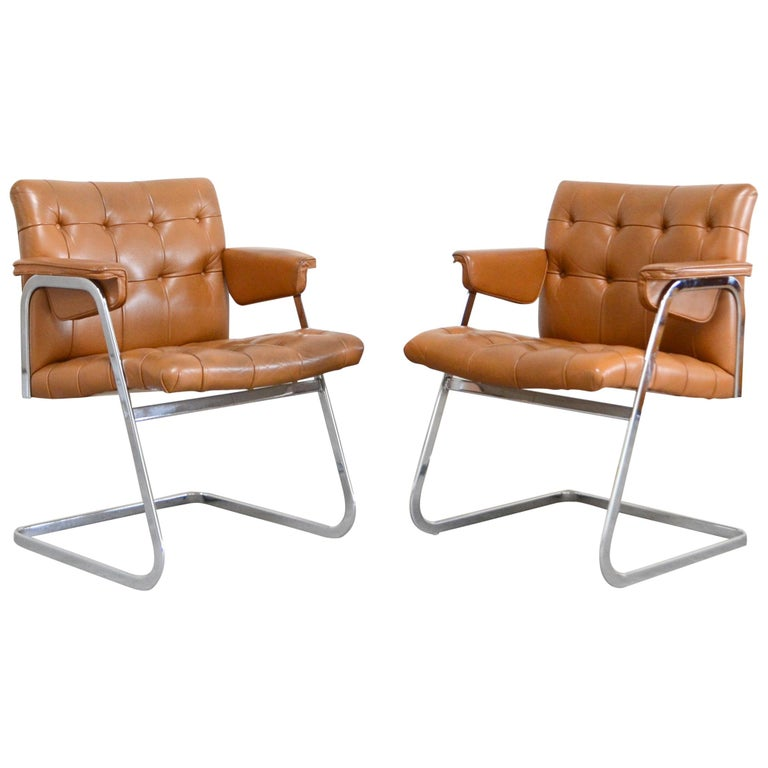 Robert Haussmann De Sede RH 305/ 304 UNESCO Softpad Chairs Chair Cognac For Sale