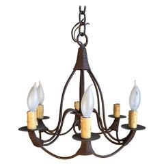 Small Bell-Form Iron Chandelier, 6 Candle