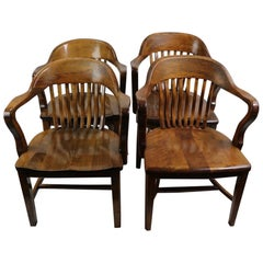 2 Bank of England Style Office Chairs Attributed to Gunlocke