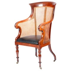 19th Century English Victorian Mahogany Library Chair with Caned Back and Sides