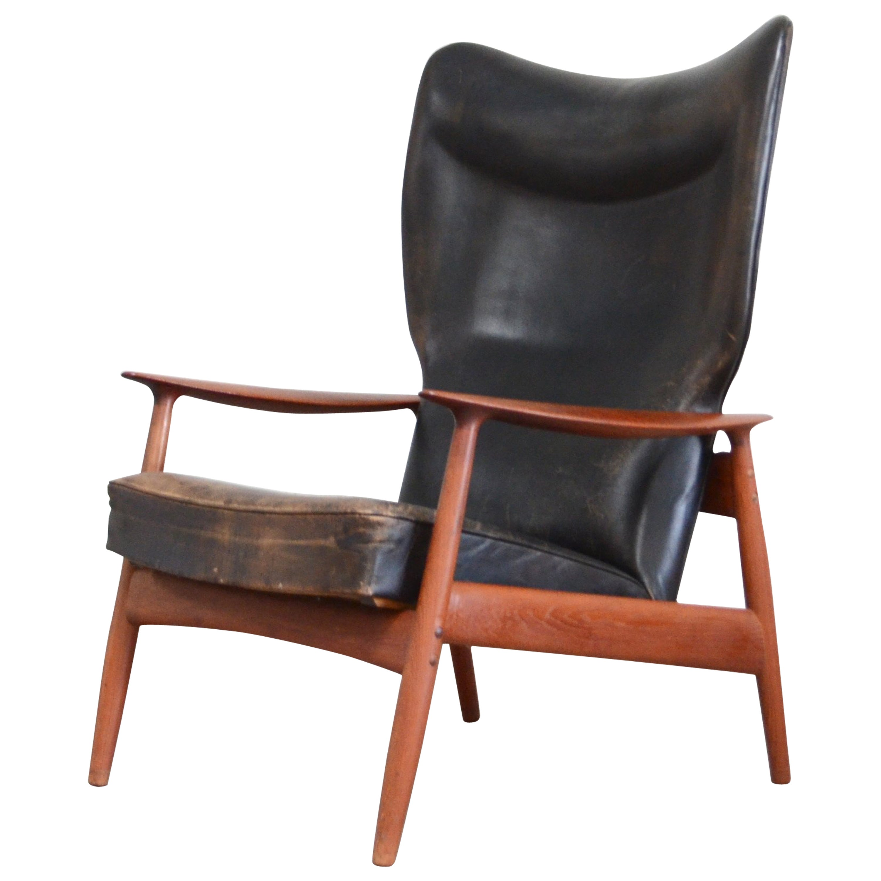 K. Rasmussen for Peter Wessel Wingback Leather Lounge Chair, 1960