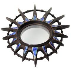 Vintage Ceramic Sunburst Mirror, 1970s