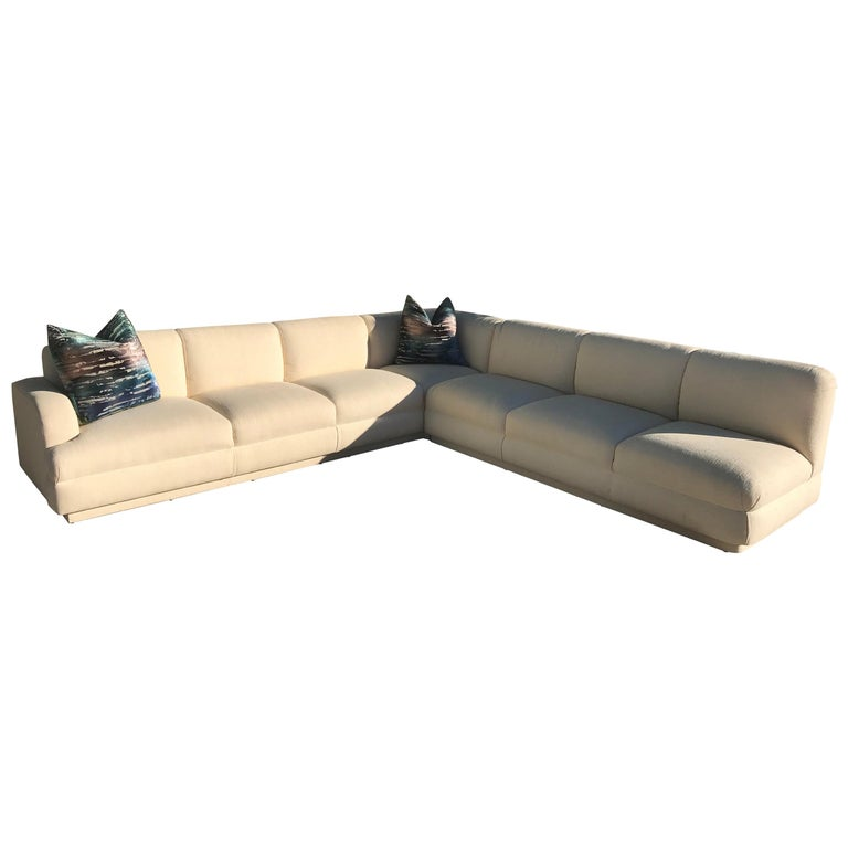 Large 2 Piece Sectional Vintage Modern Sofa By A Rudin