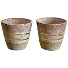 Rose Gold Ceramic Whiskey Cups with 22-Karat Gold Luster by Kim Brown