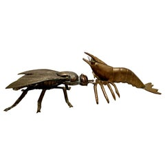 Mid-20th Century Art Nouveau Pair of Iron & Brass Figural Fly & Shrimp Sculpture
