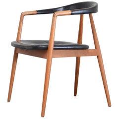 Helmut Magg Mid- Century Leather Armchair Chair for Deutsche Werkstätten, 1958
