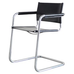 Linea Veam Cantilever Black Saddle Leather Chair