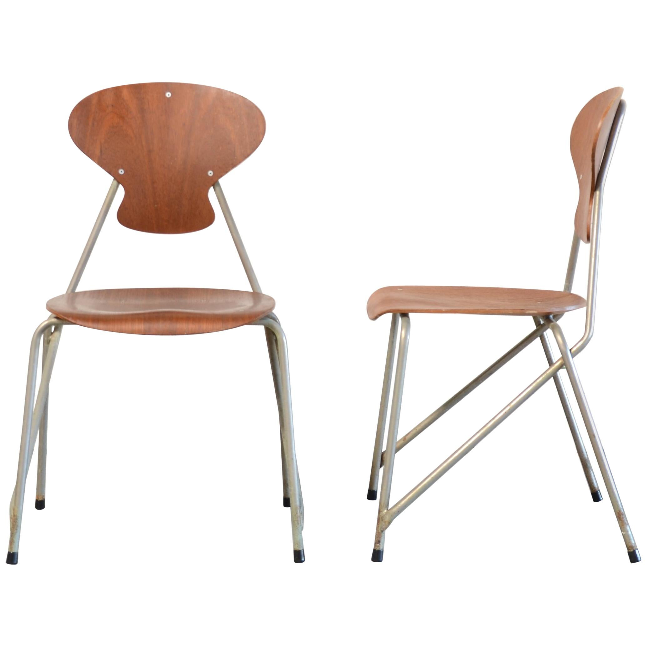 Steen Eiler Rasmussen & Kai Lyngfeldt Larsen Pair of Chairs for Danbork, 1954