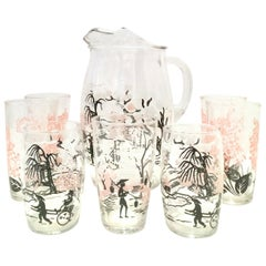 20th Century Chinoiserie Style Printed Glass Drinks Set/8