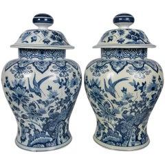 Large Pair Antique Blue and White Delft Jars