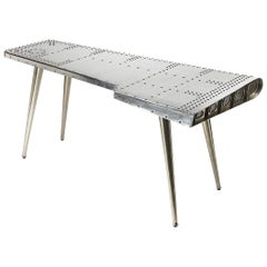 "Modern Industrial Silver ""Airplane"" Wing Writing Desk Table"