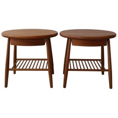 Pair of Solid Teak Oval Midcentury Danish Side Tables with Drawer