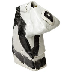 Porcelain Ceramic Vase Sculpture by Michel Lanos White and Black Pottery Glaze