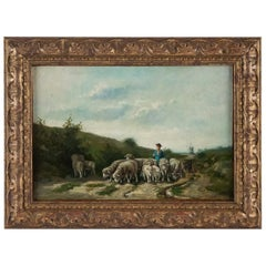 Sign by Van Cluyck Oil on Canvas Landscape View with Sheep, circa 1860-1880
