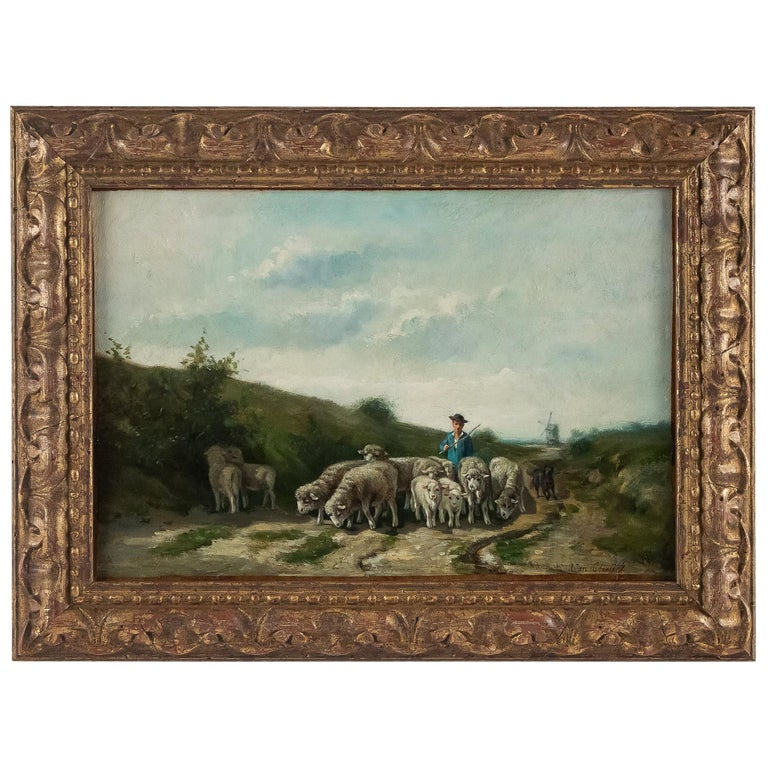 Sign by Van Cluyck Oil on Canvas Landscape View with Sheep, circa 1860-1880 For Sale