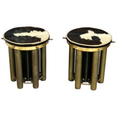 Pair of Mid-Century Modern Stools Table Made of Glass and Brass, 1960s, Italy